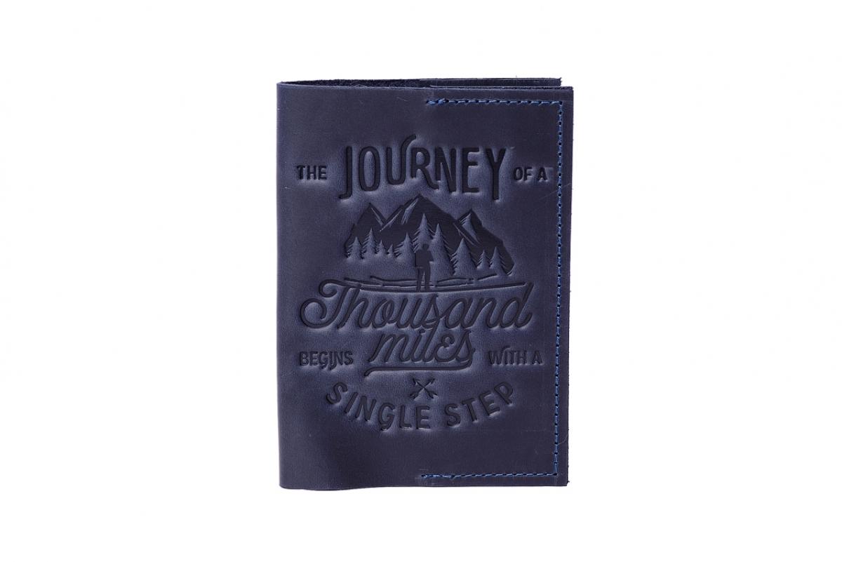 """Обложка для паспорта """"1000 миль"""" синяя"""