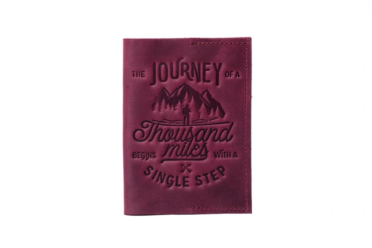 """Обложка для паспорта """"1000 миль"""" марсала"""