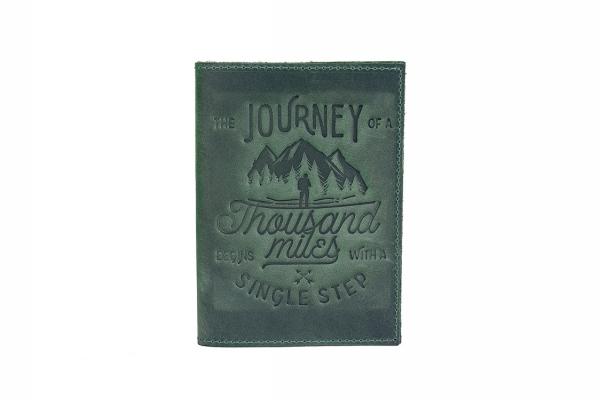 """Обложка для паспорта """"1000"""" миль зеленая"""